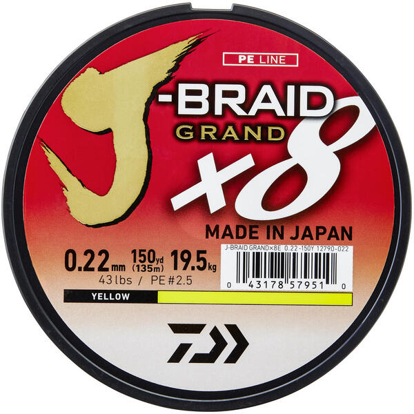 Fir Daiwa J-Braid X8 Galben 0.18mm 12.5kg 135m