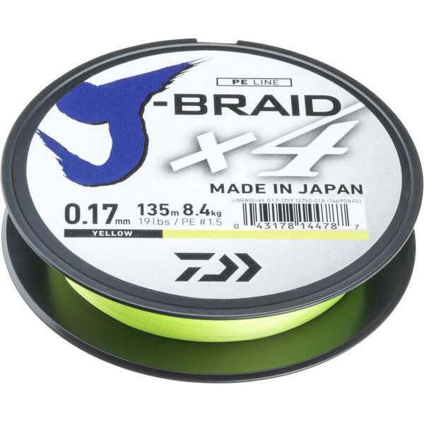 Fir Daiwa J-Braid X4E 0.25mm 14.4kg 135m Galben
